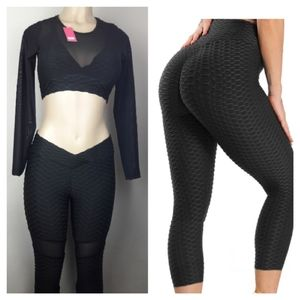 Women Yoga 2 Pc High Waist Leggings Set Honeycomb